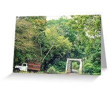 Abandoned Truck by Bridge Greeting Card