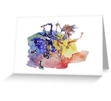 Dance of the Cartoon Wizard and the Color Witch Greeting Card