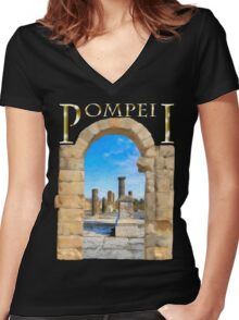 The Ruins Of Ancient Pompeii Women's Fitted V-Neck T-Shirt