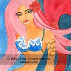 Redtail mermaid with a rose by Elisa Chong