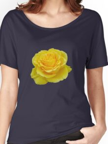 Beautiful Yellow Rose Flower on Black Background Women's Relaxed Fit T-Shirt