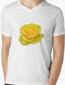 Beautiful Yellow Rose Flower on Black Background Mens V-Neck T-Shirt
