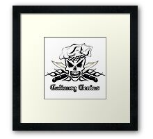 Chef Skull 2: Culinary Genius 3 black flame Framed Print