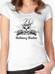 Chef Skull 2: Culinary Genius 3 black flame Women's Fitted Scoop T-Shirt