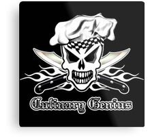 Chef Skull 2: Culinary Genius 3 white flames Metal Print