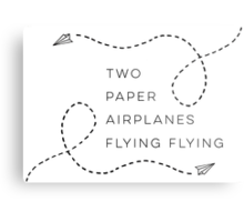 Two paper airplanes flying flying Metal Print