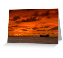 Arubia Sunset and Freighter Greeting Card