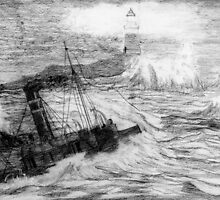 My pencil drawing of Distress at Corbiere Light, Channel Islands by Dennis Melling