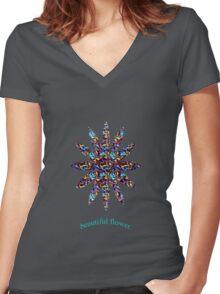 beautiful flower (black) Women's Fitted V-Neck T-Shirt