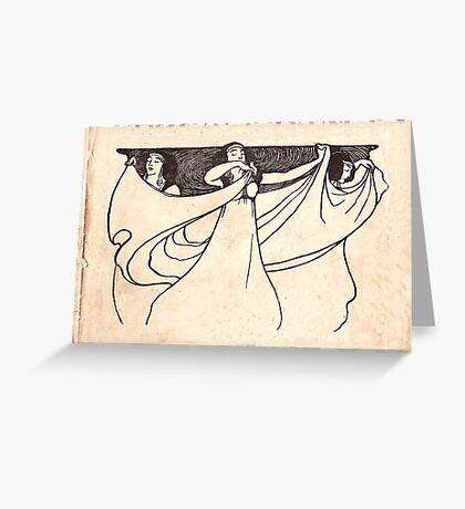 ladies art noveau Greeting Card
