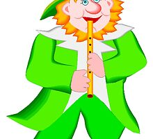 Leprechaun Playing Flute by kwg2200