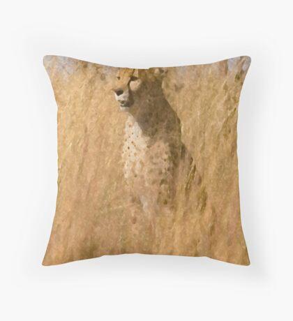 Cheetah awaits Prey Throw Pillow