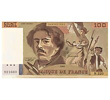 100 Old French Franc note bill Photographic Print