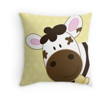 Cute Happy Cow -  Yellow Dot Throw Pillow