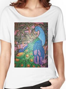Peacock shines on starry sunset  Women's Relaxed Fit T-Shirt