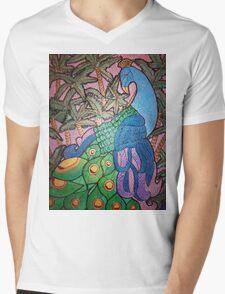 Peacock shines on starry sunset  Mens V-Neck T-Shirt