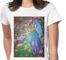 Peacock shines on starry sunset  Womens Fitted T-Shirt