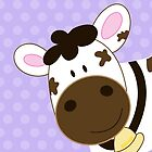 Cute Happy Cow -  Light Purple Dot by JessDesigns