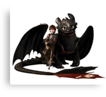 toothless with hiccup Canvas Print