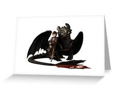 toothless with hiccup Greeting Card