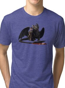 toothless with hiccup Tri-blend T-Shirt
