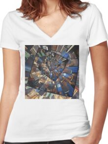 Spinning City Walls Women's Fitted V-Neck T-Shirt