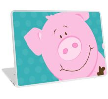 Cute Happy Pig - Aqua Laptop Skin