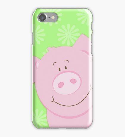 Cute Happy Pig - Green iPhone Case/Skin