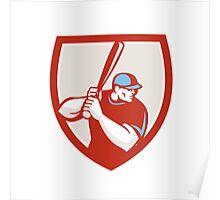 Baseball Player Batter Hitter Shield Retro Poster