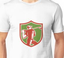 Golfer Swinging Club Shield Woodcut Unisex T-Shirt