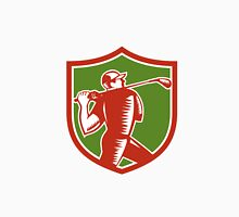 Golfer Swinging Club Shield Woodcut Unisex T-Shirt