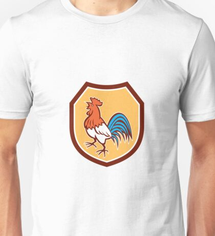 Chicken Rooster Crowing Looking Up Shield Retro Unisex T-Shirt