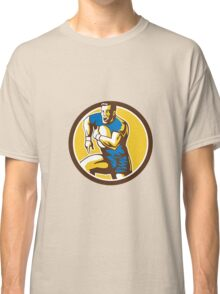 Rugby Player Running Goose Steps Circle Retro Classic T-Shirt