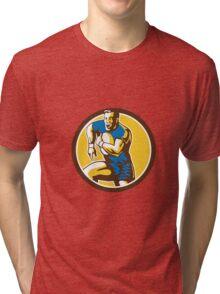Rugby Player Running Goose Steps Circle Retro Tri-blend T-Shirt