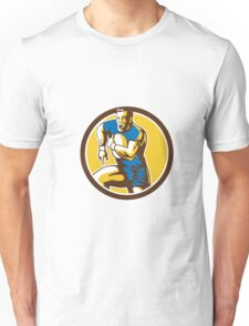 Rugby Player Running Goose Steps Circle Retro Unisex T-Shirt