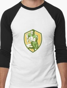 Rugby Player Running Goose Steps Shield Retro Men's Baseball ¾ T-Shirt