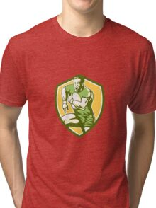 Rugby Player Running Goose Steps Shield Retro Tri-blend T-Shirt
