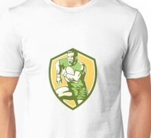 Rugby Player Running Goose Steps Shield Retro Unisex T-Shirt