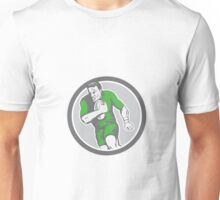 Rugby Player Running Ball Circle Retro Unisex T-Shirt
