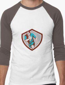 Rugby Player Running Ball Shield Retro Men's Baseball ¾ T-Shirt