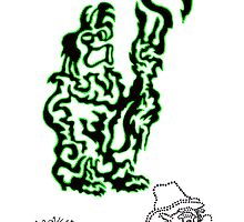 Black & Green One Line Pig Shepard & American Rinestone Alien Cowboy by Duskend