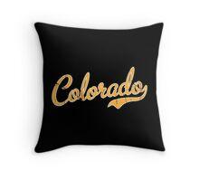 Colorado Script Font VINTAGE Gold Throw Pillow