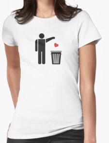 Throw Away Your Valentine's Day Heart Womens Fitted T-Shirt