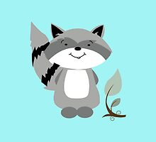 Enchanted Forest Raccoon Cartoon Animal by JessDesigns