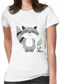 Enchanted Forest Raccoon Cartoon Animal Womens Fitted T-Shirt