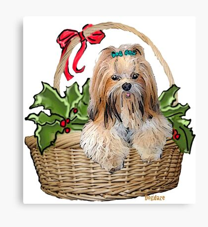Lhasa in Christmas basket Canvas Print