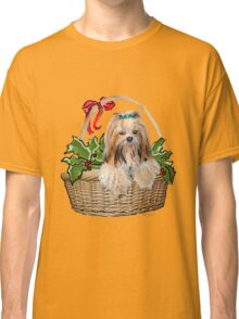 Lhasa in Christmas basket Classic T-Shirt