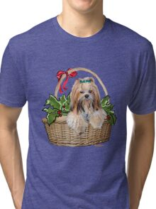 Lhasa in Christmas basket Tri-blend T-Shirt