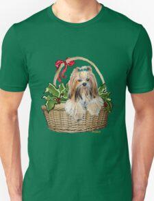 Lhasa in Christmas basket Unisex T-Shirt