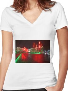 Energy Theater in Dublin on a rainy night Women's Fitted V-Neck T-Shirt